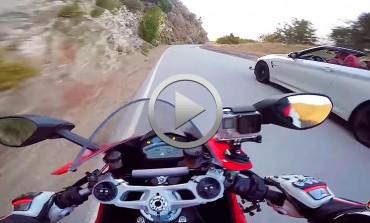 Carrerita BMW M4 vs Ducati 959 Panigale... con accidente del coche incluido