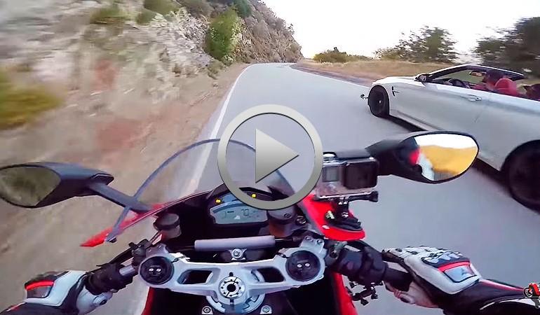 Carrerita BMW M4 vs Ducati 959 Panigale… con accidente del coche incluido